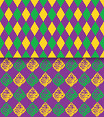 Mardi Gras vector carnival rhombic pattern. Used for Fat or Shrove Tuesday poster, invitation, greeting card etc. Festive seamless geometric background.