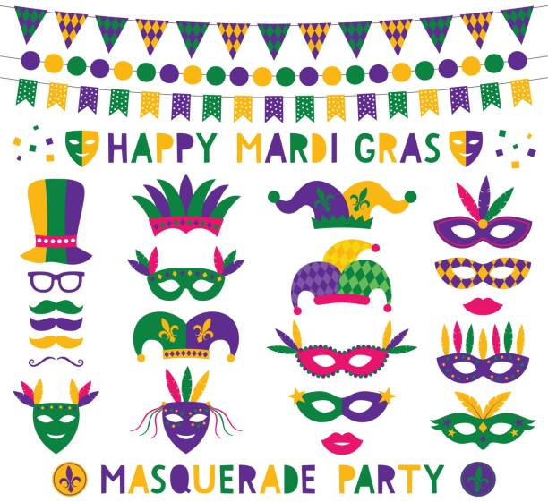 mardi gras vector decoration and party photo booth props - mardi gras cartoons stock illustrations, clip art, cartoons, & icons