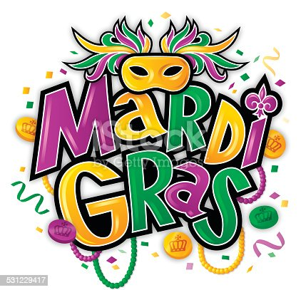 Mardi Gras fat tuesday party background concept with mask, confetti, tokens, and beads isolated on white background. EPS 10 file. Transparency effects used on highlight elements.
