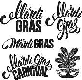 Mardi Gras Carnaval design set. Various Calligraphy inscriptions Mardi Gras. Vector illustration. Isolated on white background.