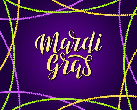 Mardi gras vector lettering logo.