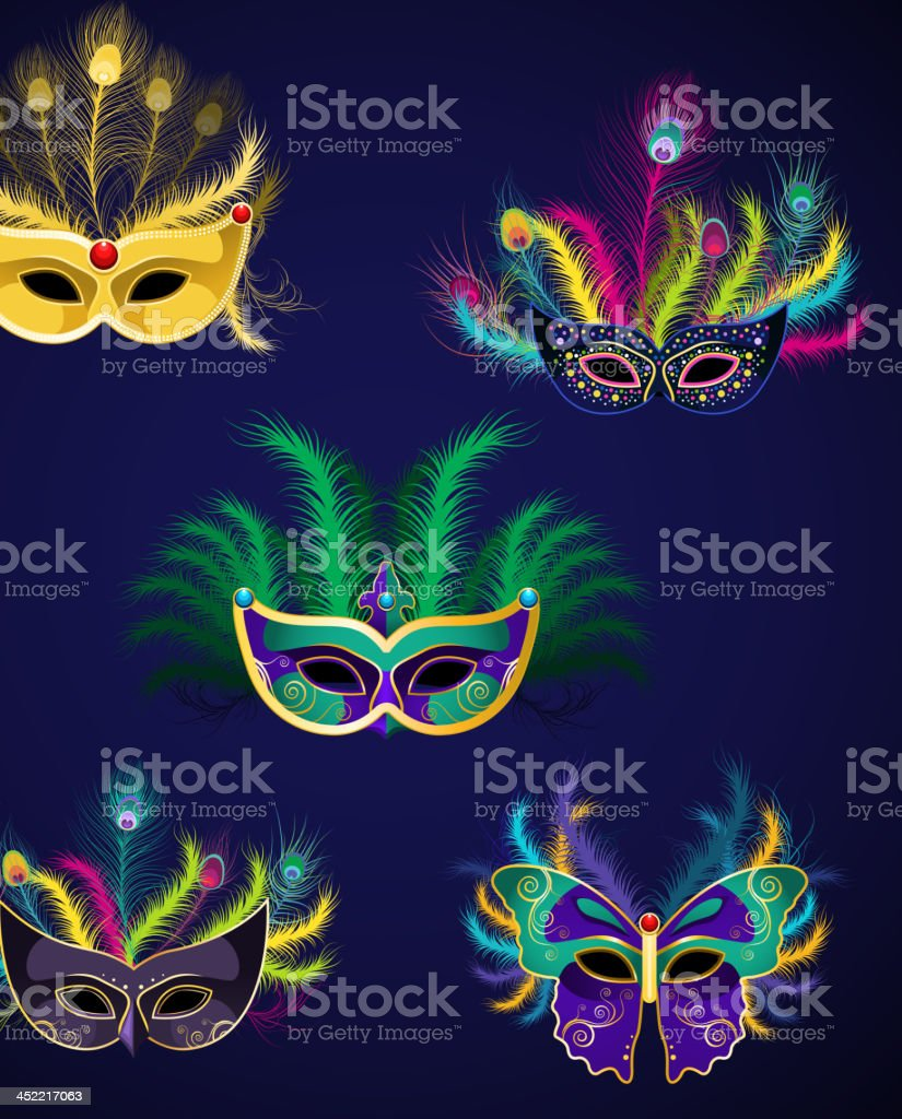 Mardi Gras Venetian Mask Ornaments 4 royalty-free stock vector art