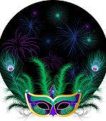 Mardi Gras Venetian Mask Ornaments vector illustration.
