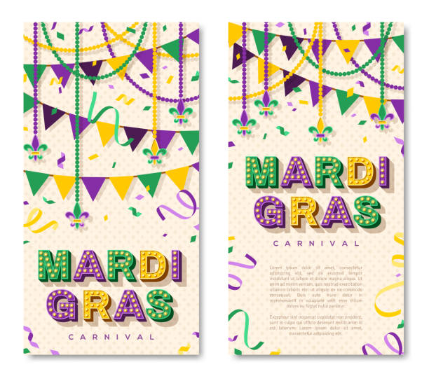 Mardi Gras vertical banners Mardi Gras vertical banner with typography design. Vector illustration with retro light bulbs font, streamers, confetti and hanging garlands mardi gras stock illustrations
