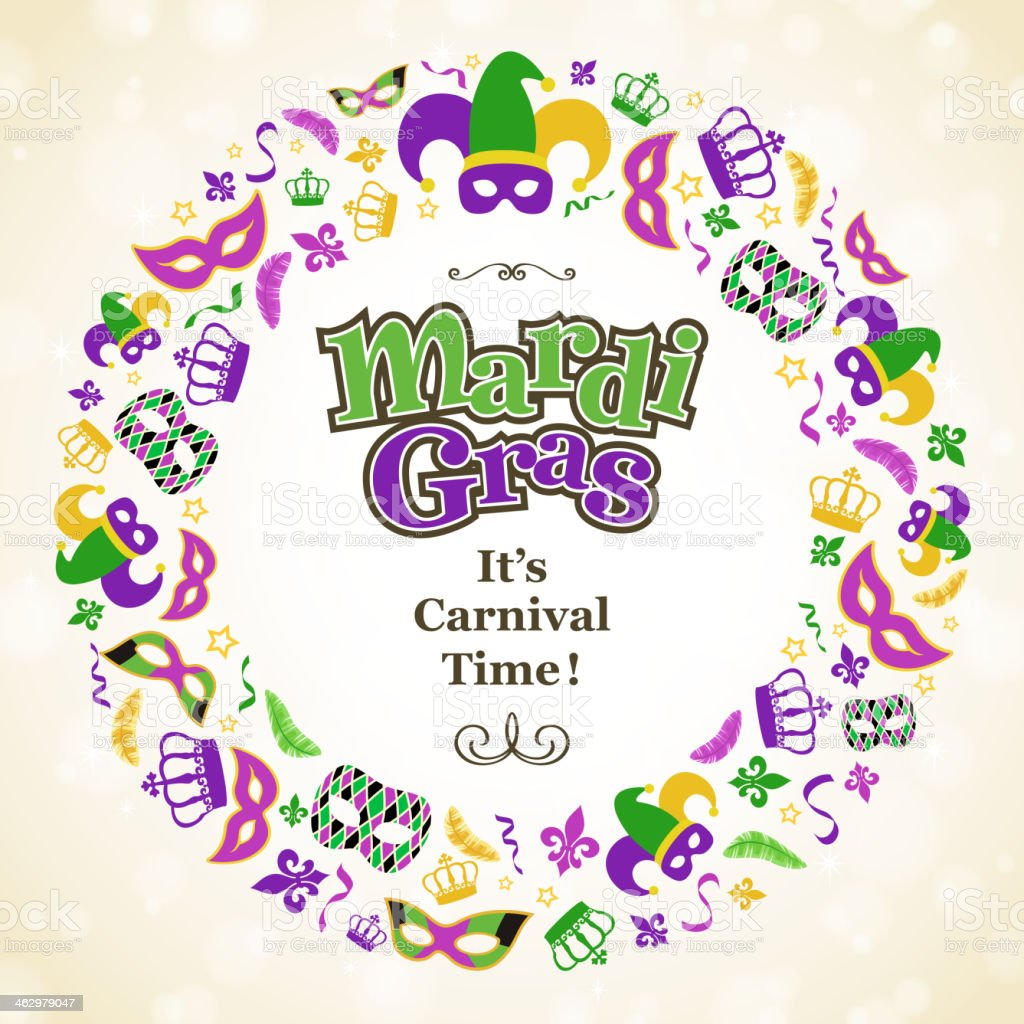 Mardi Gras Wreath royalty-free mardi gras wreath stock vector art & more images of backgrounds