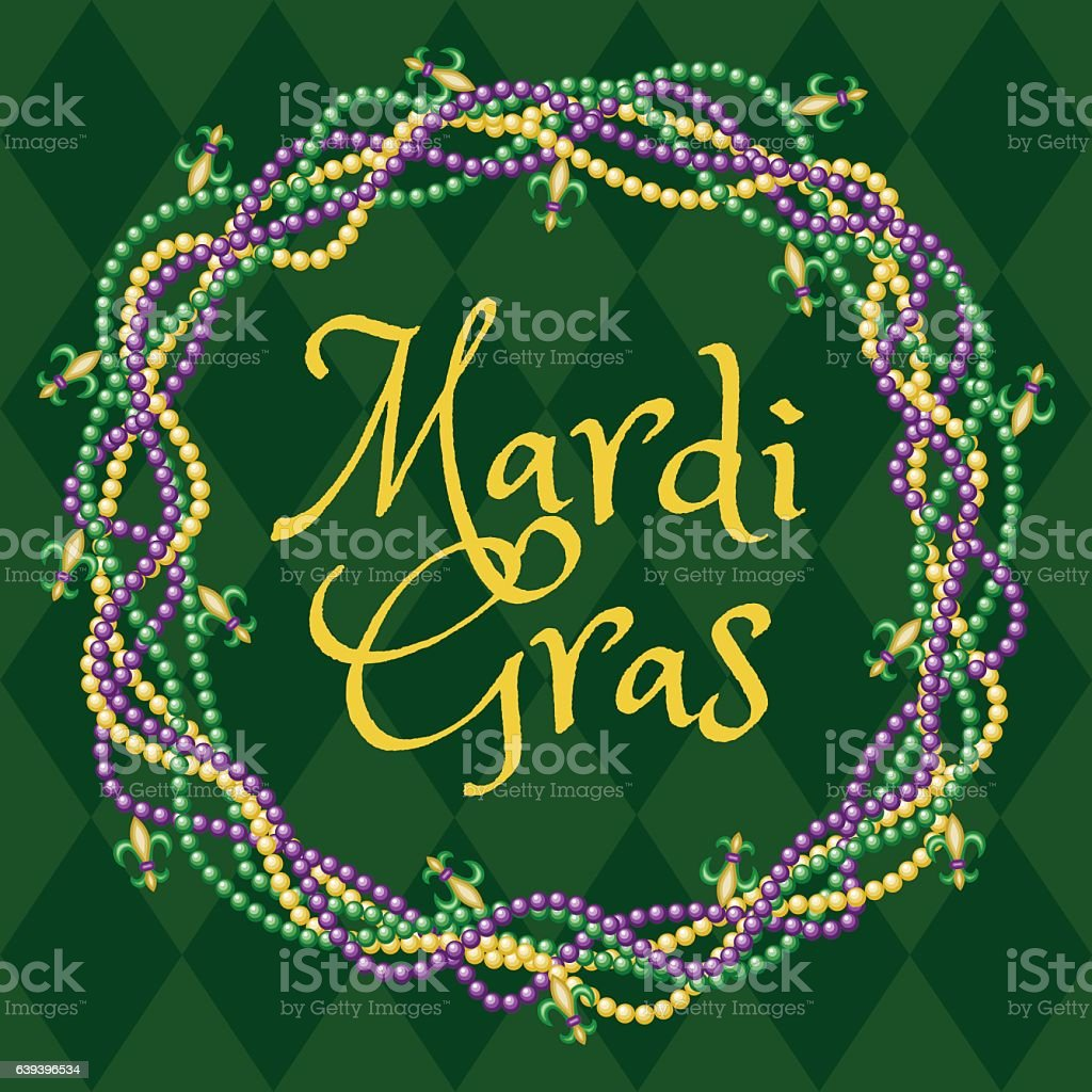 Mardy gras green background vector art illustration