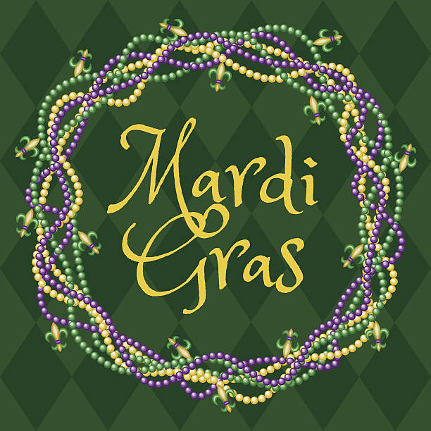 Mardy gras green background Mardy gras green background with colorful beads bead stock illustrations