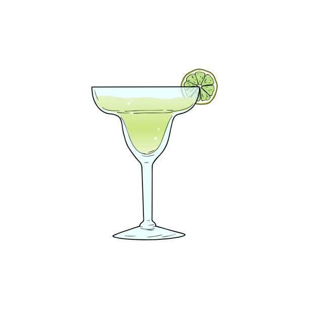 Margarita alcoholic cocktail in glass with lime slice. Vector illustration isolated on white background. Hand sketched composition made for menu design, bar, restaurant, print. vector illustration margarita stock illustrations