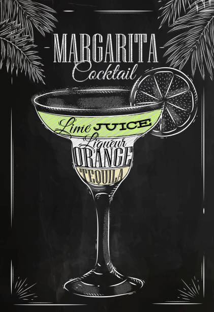 Margarita cocktail chalk Margarita cocktail in vintage style stylized drawing with chalk on blackboard. margarita stock illustrations