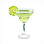 Margarita Cocktail in Cartoon Style