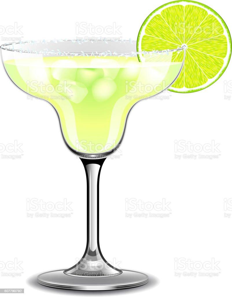 Margarita cocktail isolated on white vector vector art illustration