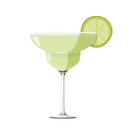 Margarita cocktail realistic vector illustration. Isolated on white background.