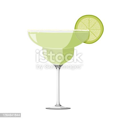 istock Margarita cocktail realistic vector illustration. Isolated on white background. 1264641844