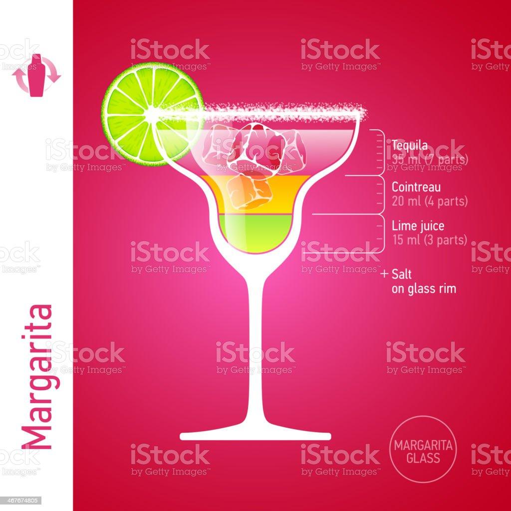 Margarita cocktail vector art illustration