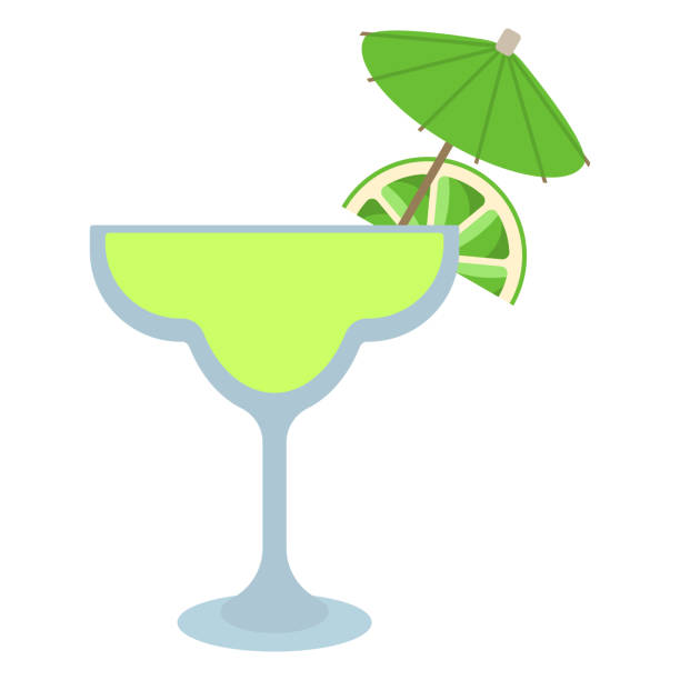 Margarita Cocktail Margarita drink with lime wedge and cocktail umbrella margarita stock illustrations