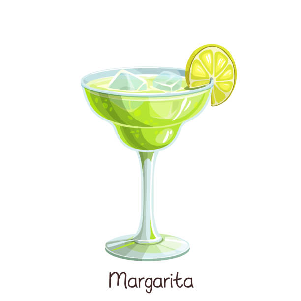 margarita cocktail with lime Vector glass of margarita cocktail with lime slice isolated on white. Color illustration summer alcohol drink. margarita stock illustrations