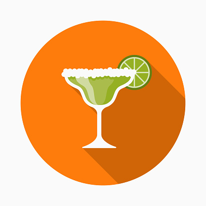 Margarita Flat Design Mexico Icon with Side Shadow