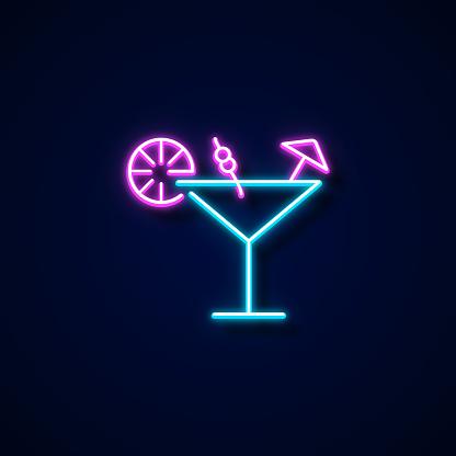 Margarita Icon Neon Style, Design Elements