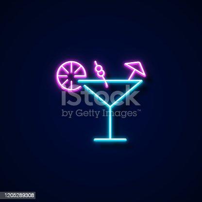 istock Margarita Icon Neon Style, Design Elements 1205289308
