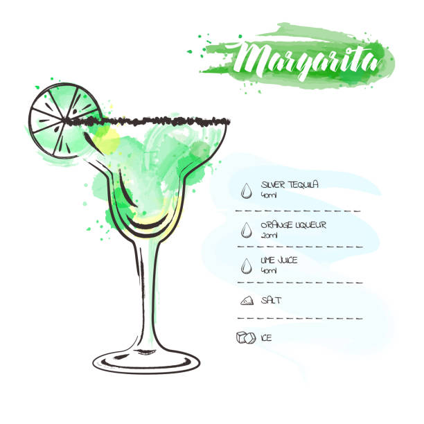 Margarita. Image of a cocktail and a set of ingredients for making a drink at the bar. Watercolor sketch on a white background. Vector illustration Margarita. Image of a cocktail and a set of ingredients for making a drink at the bar. Watercolor sketch on a white background. Vector illustration margarita stock illustrations