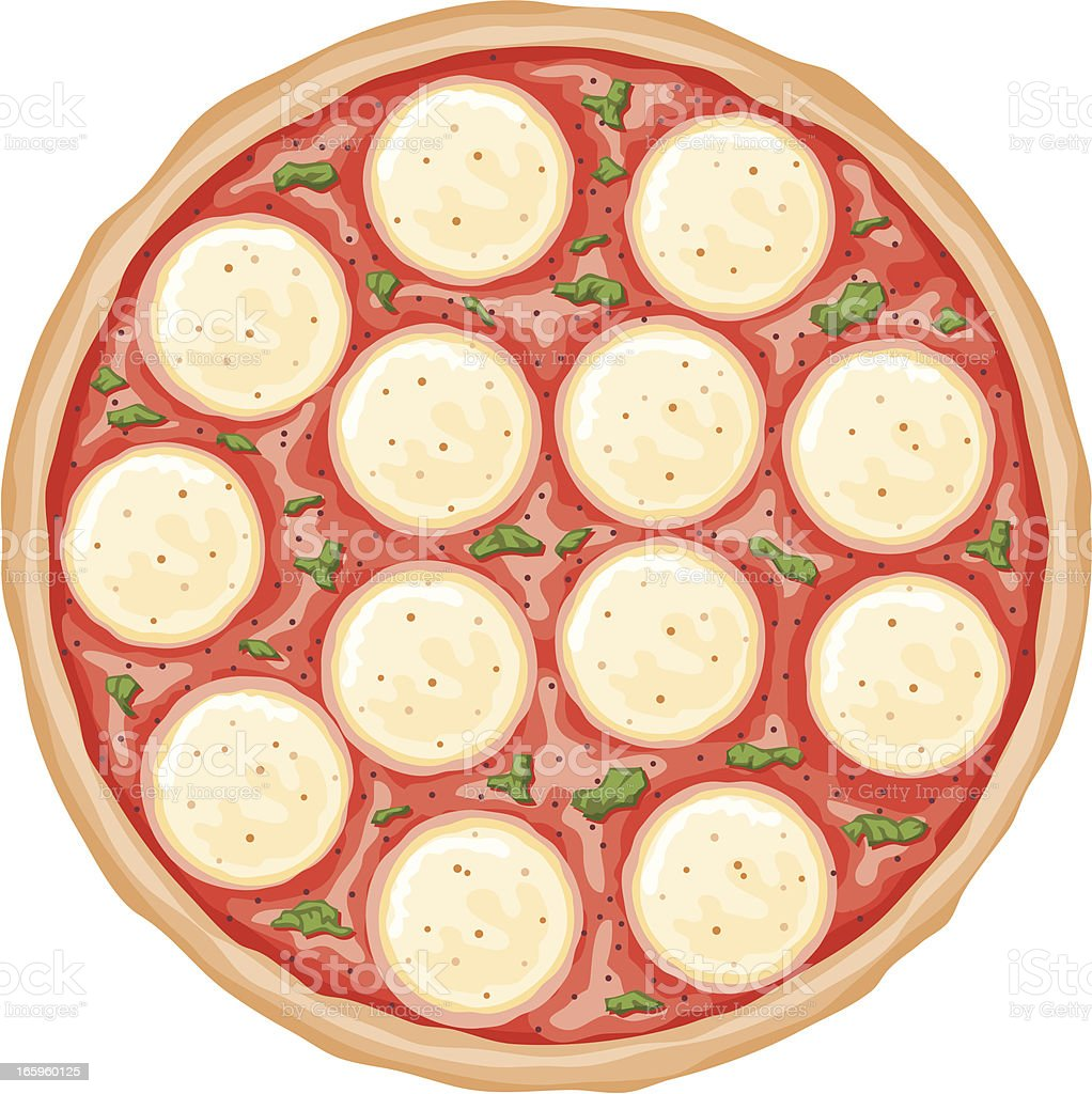 Margarita Pizza vector art illustration