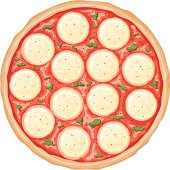Vector Pizza Margherita From Above Stock Art More Images Of