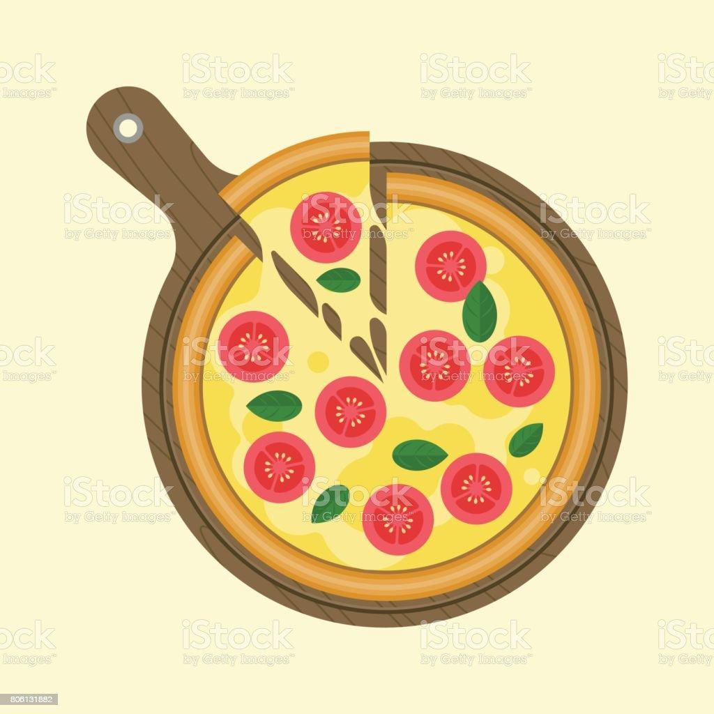 Margarita pizza vector art illustration