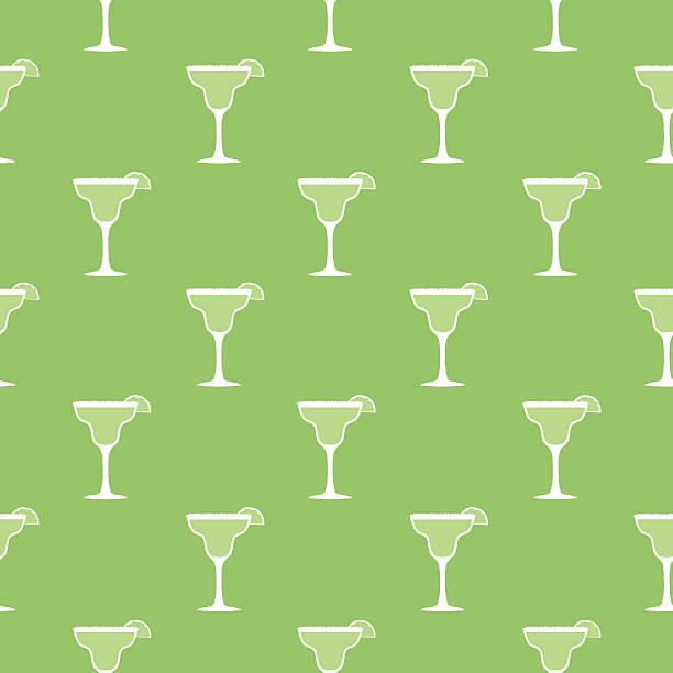 Margarita Seamless Pattern Vector seamless pattern of margarita glasses on a bright green background margarita stock illustrations