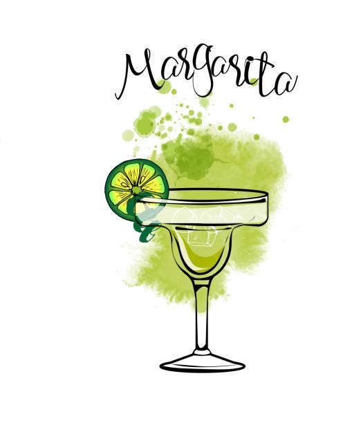 Margarita Cocktail party. Watercolor vector background margarita stock illustrations