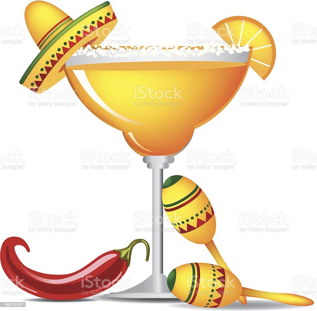 Margarita with sombrero, jalapeño and maracas vector art illustration