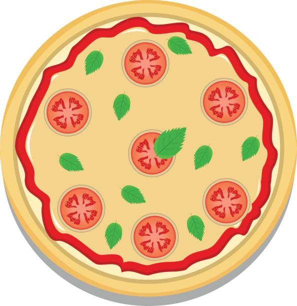 Margherita Pizza Top View Vector Art Illustration