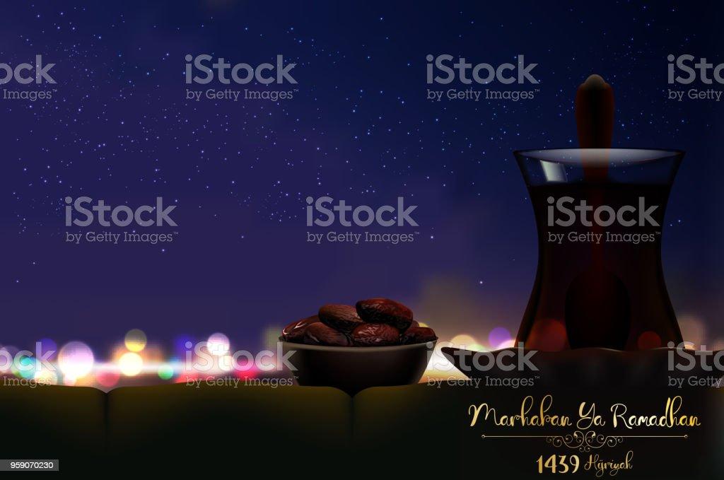 Marhaban ya ramadhan iftar party celebration with bowl of dates and iftar party celebration with bowl of dates and a glass of tea stopboris Gallery