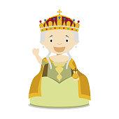 Maria Theresa I of Austria cartoon character. Vector Illustration. Kids History Collection.