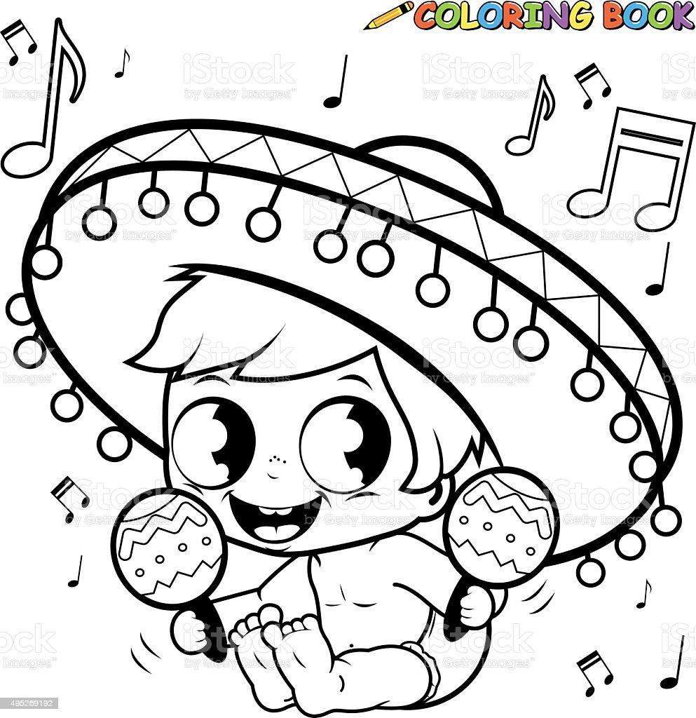Ilustración de Mariachi Bebé Niño Jugando La Página Para Colorear ...