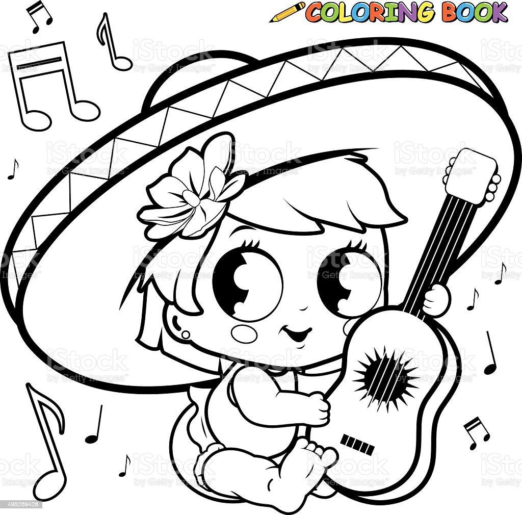 Mariachi Bebé Niña Tocando La Guitarra Para Colorear Página - Arte ...