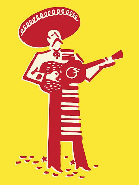 bildbanksillustrationer, clip art samt tecknat material och ikoner med mariachi band guitarist - latino music