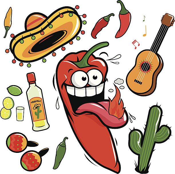 Mariachi chili pepper mexican icon collection Vector collection of a hot mariachi chili pepper cartoon and Mexican themed illustrations: A guitar, tequila, lime, cactus, chili peppers and maracas. mexican restaurant stock illustrations