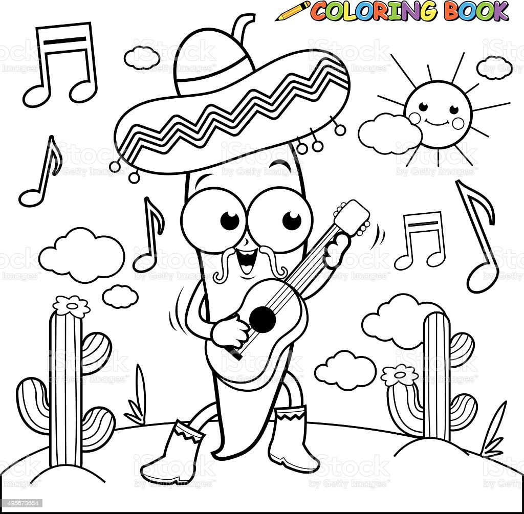 mariachi chili pepper playing the guitar coloring page stock