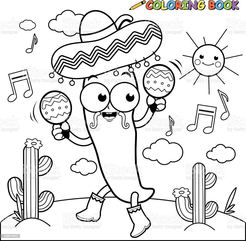 Ilustraci n de mariachi guindilla con maracas p gina para - Dessin piment ...