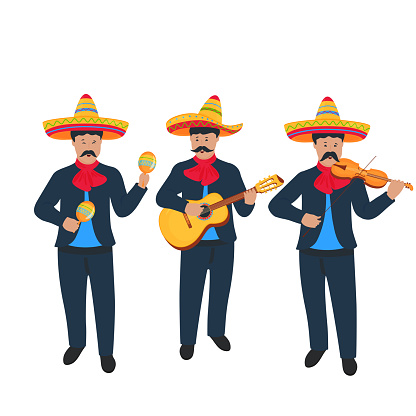 Mariachi. Mexican street band in national costume playing on musical instruments