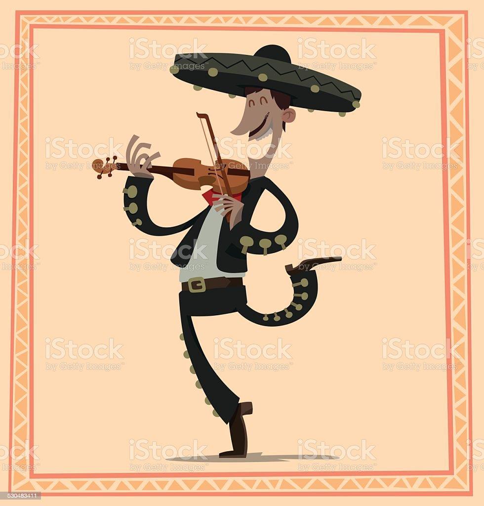 Mariachi with a violin vector art illustration