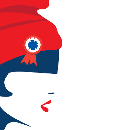 Marianne is a national symbol of the French Republic. Vector for French National Day.