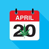 Vector illustration of a April 20 calendar with a marijuana leaf on it.