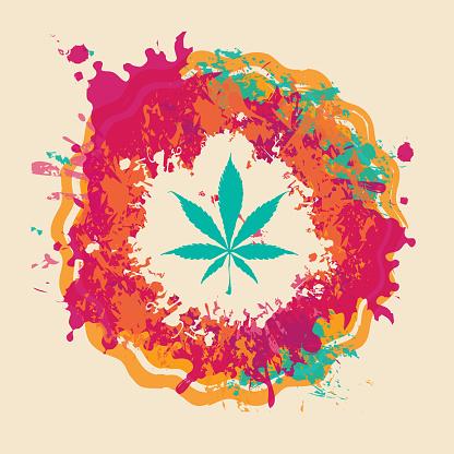 marijuana banner, cannabis leaf on bright spots
