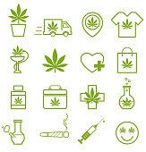 Marijuana, Cannabis icons. Set of medical marijuana icons. Marijuana leaf. Drug consumption, marijuana use. Marijuana Legalization. Isolated vector illustration.