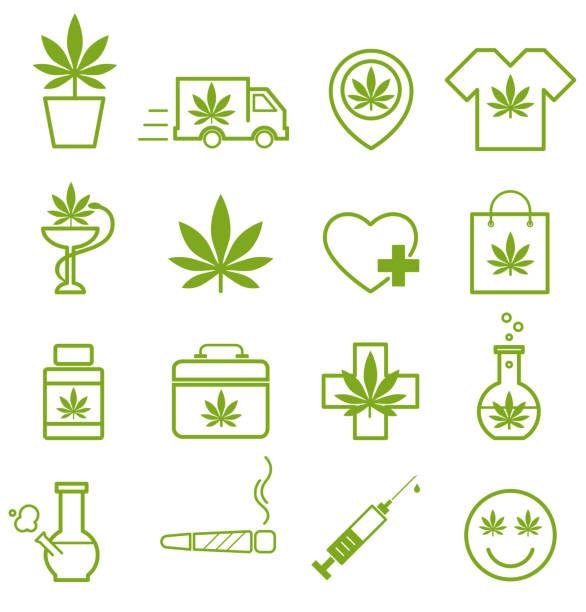 Marijuana, Cannabis icons. Set of medical marijuana icons. Marijuana leaf. Marijuana, Cannabis icons. Set of medical marijuana icons. Marijuana leaf. Drug consumption, marijuana use. Marijuana Legalization. Isolated vector illustration. marijuana stock illustrations