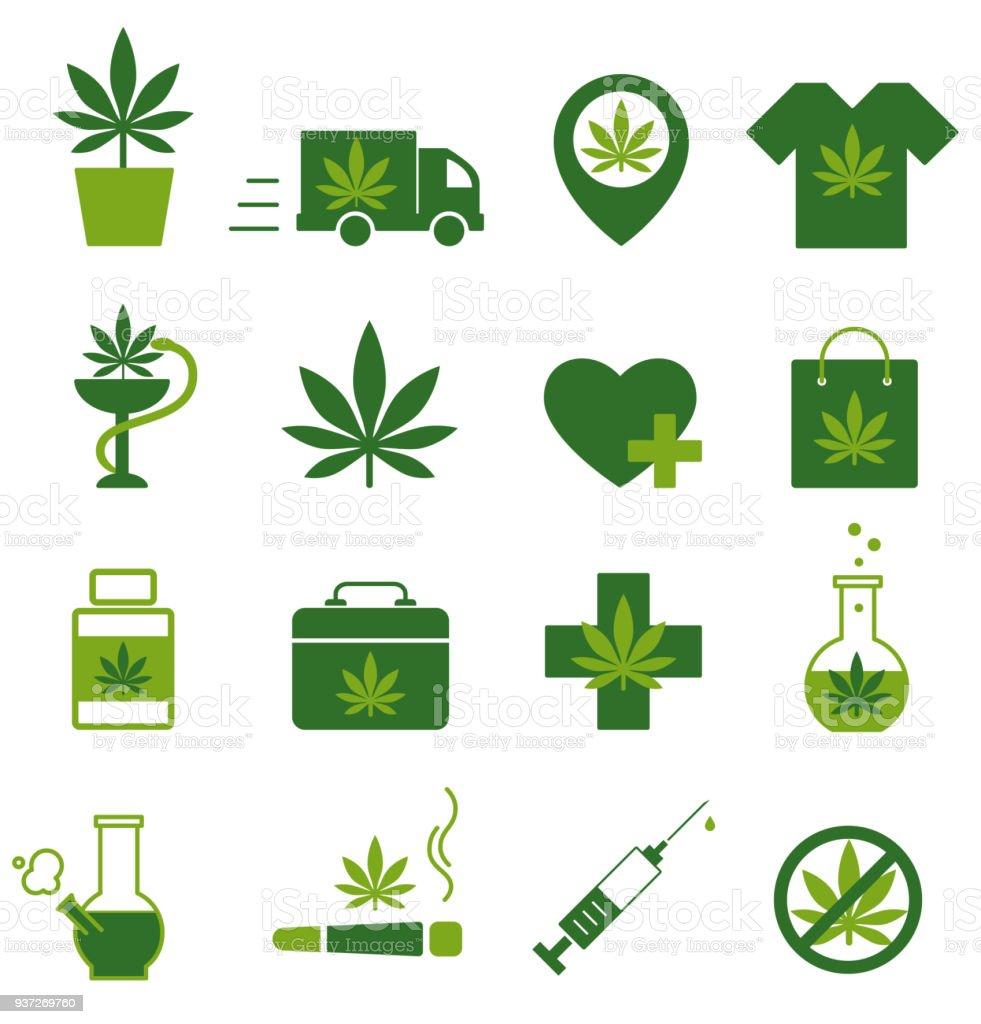Marijuana Cannabis Icons Set Of Medical Marijuana Icons Marijuana