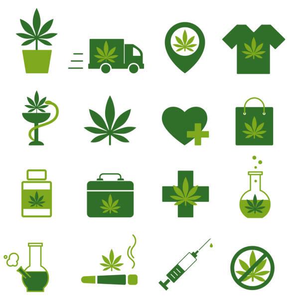 Marijuana, Cannabis icons. Set of medical marijuana icons. Marijuana leaf. Marijuana, Cannabis icons. Set of medical marijuana icons. Marijuana leaf. Drug consumption. Marijuana Legalization. Isolated vector illustration. marijuana stock illustrations