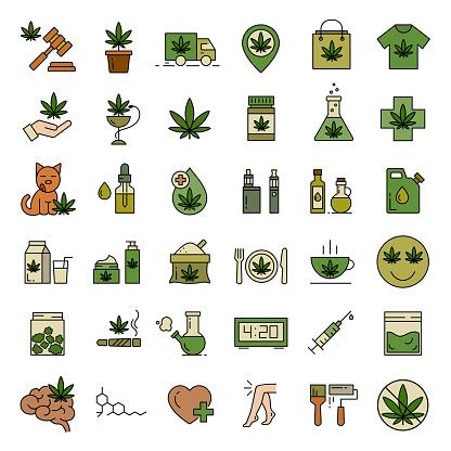 Marijuana, Cannabis icons. Set of medical marijuana icons.