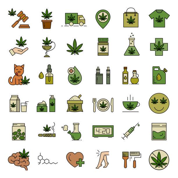 Marijuana, Cannabis icons. Set of medical marijuana icons. Cannabis icons. Set of medical marijuana icons. Drug consumption. Marijuana Legalization. Isolated vector illustration on white background. marijuana stock illustrations